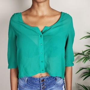 🌴 Petticoat Alley | Green Open Back Blouse - XS